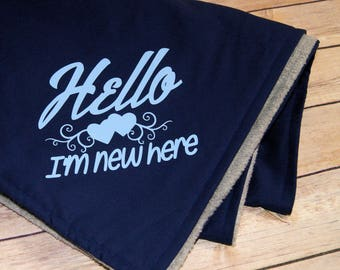 Hello I'm New Here - Double-Sided Blue Fleece Baby Blanket MTCoffinz - Ready to Ship