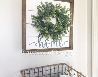 Shiplap wreath sign, home sign, farmhouse wreath, fixer upper decor, farmhouse sign, eucylyptus wreath, shiplap sign, farmhouse wall decor