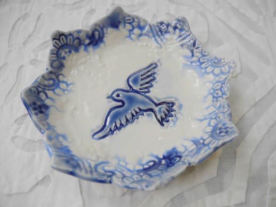 Dove Ring Dish, blue white porcelain, ring bowl, wedding ring holder, Spoon Rest, Small plate, teabag holder, jewelry holder, ceramic dish