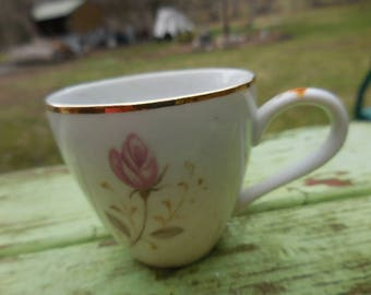 Vintage 1950s to 1960s Tiny Demitasse White Teacup Pink Rose Abalone China Made in Japan Flamingo Rose Little Cup with Handle