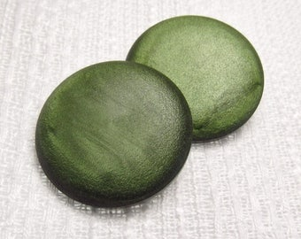"""Moss Glow: 1-1/8"""" (28mm) Green Buttons - Set of 2 New / Unused Large Vintage Buttons"""
