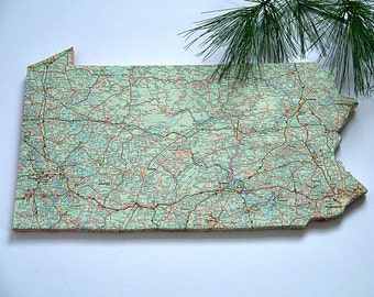 PENNSYLVANIA State Vintage Map Wall Art (Small size)