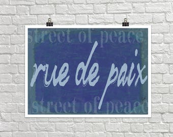 Rue de Paix Street of Peace 18x24 Landscape Art Poster Giclee Typography French Home Lisa Weedn
