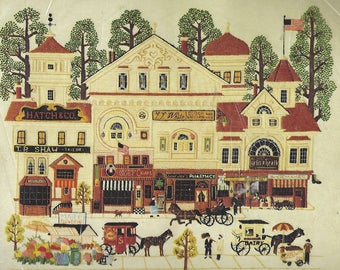 1980s Charles Wysocki Victorian Street Crewel Embroidery Kit Unopened Dimensions Crewel Kit 1177 Vintage Crewel Kits