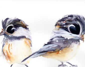 Bird Art Print, 2 Chickadees, 12 x 16 Bird Art