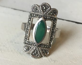 Vintage Sterling Silver and Chrysoprase Ring. Cocktail Ring. Chrysoprase & Marcasite Ring. Art Deco Style Ring. Statement Ring - Size 6.75