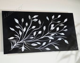 """black silver new art home office modern abstract wall decor original horizontal vertical METAL sculpture 24"""" small artwork hand made by Lubo"""