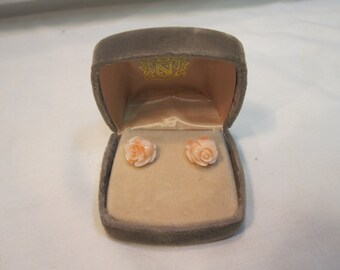 Carved Angel Skin Coral 15mm Roses Pierced Earrings with 14K Posts