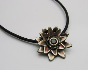 Handmade Flower with Faceted Black Spinel and Red Resin on Black Leather Cord Necklace, Flower Jewelry, Resin Jewelry, Leather Jewelry