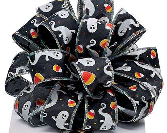 Ribbon by the yard~Halloween,Black satin ribbon with white ghost trimmed in glitter/Candy corn, Wreath~Wedding~Arrangement-Scrap-booking
