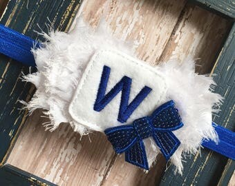 Chicago Cubs Win W White Royal Blue Shabby Chiffon Flower Headband Fabric Babies, Toddlers, Girls