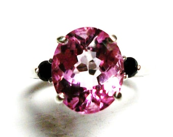 "Pink topaz, pink topaz ring, 3 stone ring, anniversary ring, pink black, Christmas engagement,   s 6 1/2   ""Tickle her pink"""