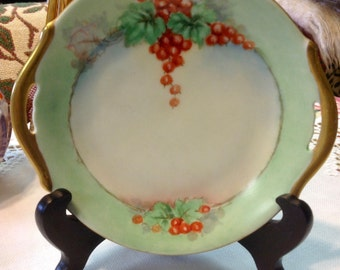 """Gorgeous Hand Painted Vintage China Plate *Reduced* ~ 6.5"""" Gold Trim, Wintery Holiday Red Berries, Mint Green Border,Signed F. Marks"""