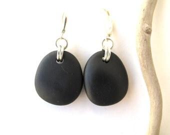 Rock Earrings Beach Stone Earrings Natural Stone Earrings Mediterranean Jewelry River Stone Earrings Pebble Earrings Black Silver BILBOA