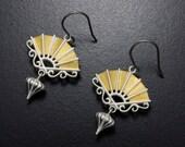 Silver earrings, Keum Boo gold earrings, Japanese earrings with a fan motif