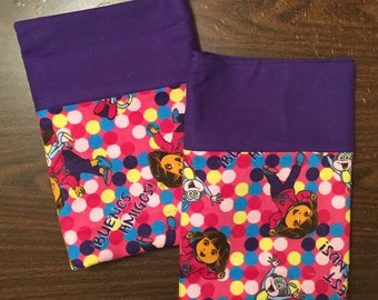 Dora the Explorer pillow case set made with100% cotton flannel Standard/queen bright purple cuff