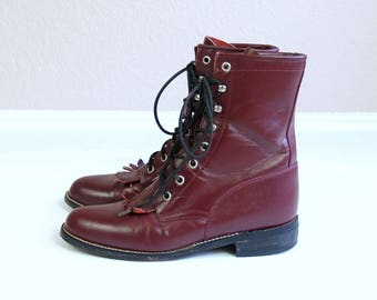 vtg 80s BURGUNDY leather lace up ROPER BOOTS fringe 10 grunge berry western cowboy