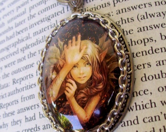 Woodland Fairy Pendant (N637), Captured Fairy Necklace, Sparkle Graphic under Oval Glass Dome, Faux Pocket Watch Frame, Silver Chain