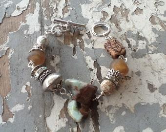 Rustic Bead Boho Bracelet Chunky Bead Bracelet Earthy Jewelry Gypsy Jewelry