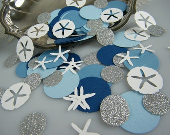 Nautical Confetti | Boy Baby Shower Decoration | Blue Silver and White | Nautical Wedding Ocean Theme Table Decoration