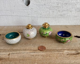 Small brass and enamel salt and pepper. Chinese Cloisonné salt and pepper and bowls.