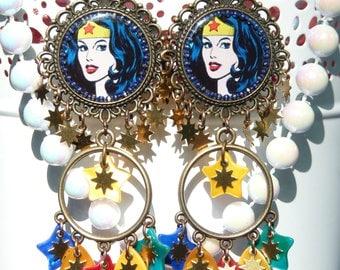 FREE SHIPPING Wonder Woman Handmade Resin Chandelier Earrings - Colorful - Spring Jewelry - Superheroes - Wonder Woman Earrings - Stars