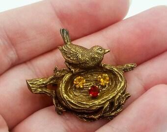 Anson Sterling Vermeil Bird Nest Brooch. Rhinestone Eggs, Birdie Brooch Pin