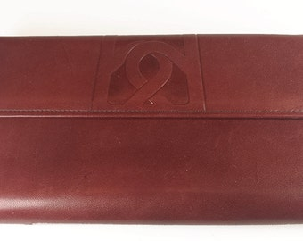 Vintage Burgundy Brown Leather Buxton Wallet, 60s, French Clutch, Unused / Vintage Ladies Wallet - Porte-Monnaie.