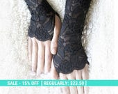 SALE! black lace gloves on sale, black lace mittens , black cuffs free shipping lace gloves 30% off