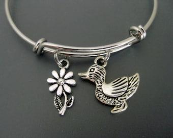 Duck Bracelet / Duck Bangle / Flower Bangle / Charm Bangle / Adjustable Bracelet / Expandable Bracelet / Baby Shower Bangle / Animal Lover