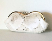Ivory Tile Mosaic, eyeglass case, eye glass case, small sunglass case, or small clutch
