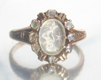 Antique Man in the Moon Moonstone and Rose Cut Diamond Rose Gold Ring 10K