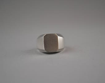 Octagonal Sterling Silver Contemporary Signet Ring