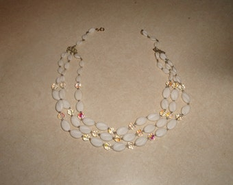 vintage necklace choker triple strand white lucite aurora borealis glass