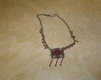 vintage necklace choker silvertone glass stone dangles rust colored