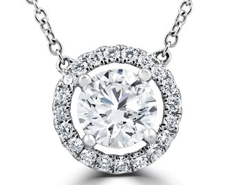 1.55Ct Round Brilliant Cut Halo Diamond Pendant 18K White Gold Clarity Enhanced (G, SI1)