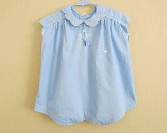 Vintage Baby Blue Cotton Romper White Hand Embroidery Summer Suit Size 2   721b