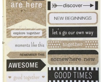 Typography World Travel Stickers for Scrapbooks, Cards, Journals, Planners and More!