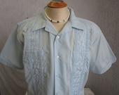 60s XL Romani Guayabera Men's S/S Shirt Light Blue