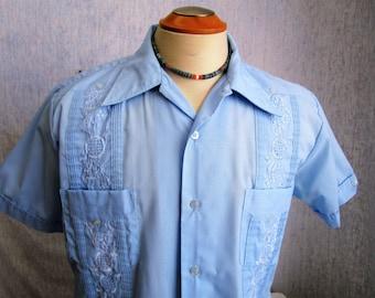 50s L Mr. Florida Guayabera Men's S/S Shirt Light Blue