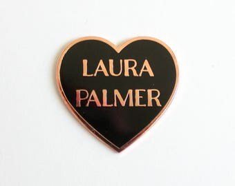 "Laura Palmer Black and Rose Gold Heart Pin // Twin Peaks inspired // 1.25"" hard enamel lapel pin"