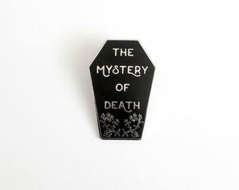 "The Mystery of Death Casket Black and Silver Pin // Twin Peaks inspired // 1.5"" hard enamel lapel pin"