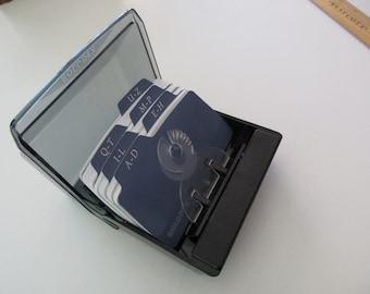 vintage desk organizer-  Rolodex, black, plastic, petite