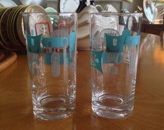 Pair Of Blue Heaven Drinking Glasses