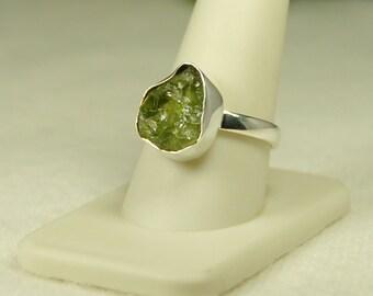 Peridot Ring, Size 10, Raw Peridot, Translucent Green, Sterling Silver, August Birthstone, Chunky Peridot, Natural Peridot, Green Peridot