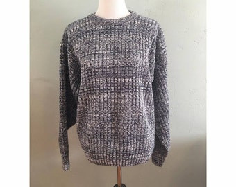 90s Navy and White Salt and Pepper Over-Sized Sweater