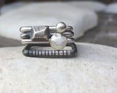 Silver stacking ring set of four - geometric stacking sterling silver ring - square  rings