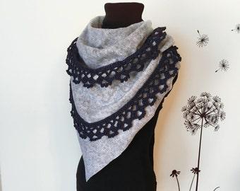 Blanket Scarf / Crochet Scarf / Fleece Scarf / Crochet Neck Warmer / Womens Scarf / Grey Scarf