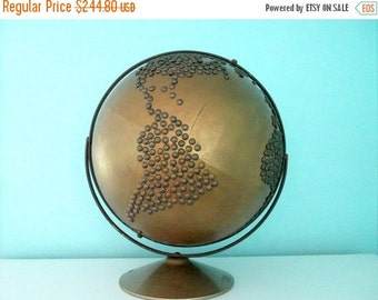 1-DAY SALE HUGE Vintage Bronze Nailhead Globe - Industrial Home Decor - Painted Old Globe with Metallic Accents