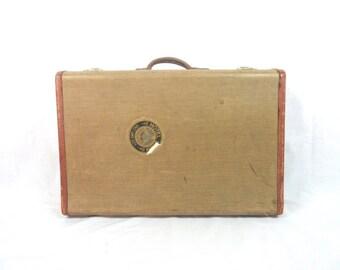 Vintage Tweed and Plaid Suitcase Hotel Utah Home Decor Storage